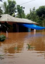 Common sight of flooded houses.