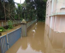Water level at the students' residence at the Rogate Ashram in Aluva, Kerala.