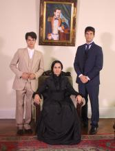 Da esquerda: Francisco, Ana Toscano e Aníbal. No quadro, Francisco, o pai.
