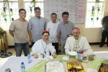 The Rogationist SHEC community with Cardinal Tagle, Archbishop Caccia and Fr. Herman Abcede.