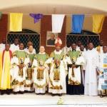 Il nuovo Vescovo di Edea. Mons Jean Bosco Ntep dopo la Messa in occasione della benedizione della nuova casa rogazionista in Edea.
